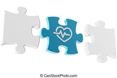 monde médical, isolé, illustration, morceaux, fond, blanc, puzzle, 3d