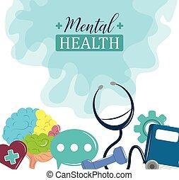 monde médical, jour, affiche, psychologie, problème, traitement, santé mentale