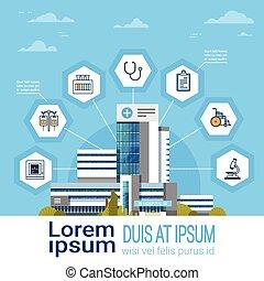 monde médical, médecine, bannière, ligne, interface, concept, copie, icônes, hôpital, application, traitement, moderne, espace