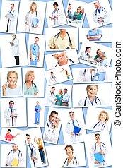 monde médical, médecins, groupe, collage.
