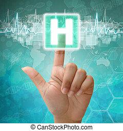 monde médical, main, symbole, fond, presse, hôpital