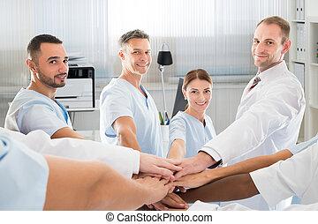 monde médical, mains, confiant, quoique, équipe, sourire, ...