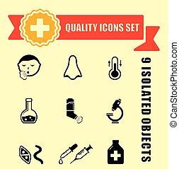 monde médical, maladie, qualité, icônes