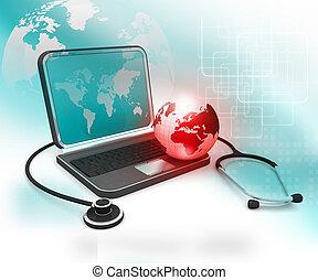 monde médical, ordinateur portable, global, globe, stéthoscope, concept