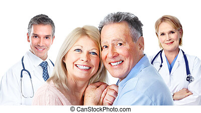 monde médical, patient., couple, personnes agées, docteur