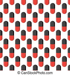 monde médical, pattern., seamless, capsule, vecteur, fond, pilules
