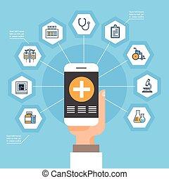 monde médical, réseau, intelligent, médecine, ligne, concept, prise, main, icônes, téléphone, application, traitement, social