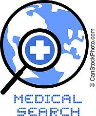 monde médical, recherche, icône