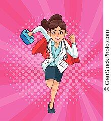 monde médical, runing, super, femme, kit, docteur