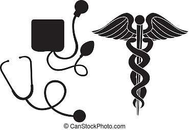 monde médical, silhouette, signe