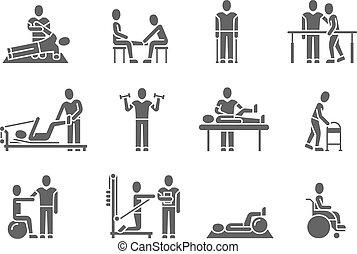 monde médical, silhouette, vecteur, gens, noir, thérapie physique, icônes, traitement, rééducation