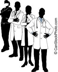 monde médical, silhouettes, équipe