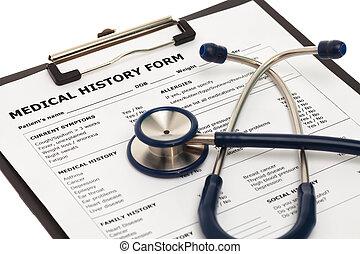 monde médical, stéthoscope, formulaire, histoire