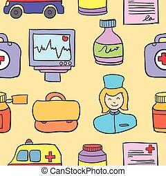 monde médical, style, collection, dessin animé