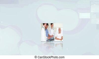 monde médical, sur, cubes, vidéos