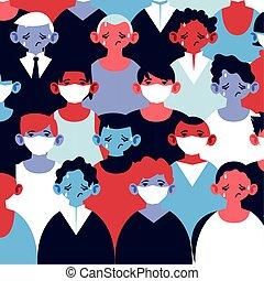 monde médical, symptômes, coronavirus, infection, tousser, masque, figure, hommes