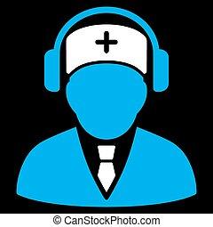 monde médical, téléopérateur, icône