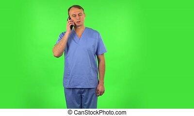 monde médical, très, écran, choqué, téléphone, homme, vert, ...