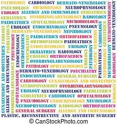 monde médical, typographie, secteurs