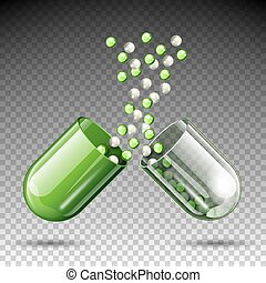 monde médical, vecteur, capsule, ouvert, pilule