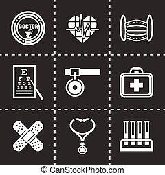 monde médical, vecteur, ensemble, icône