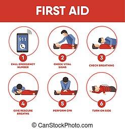 monde médical, vecteur, instructions, aide, icônes, premier, infographics