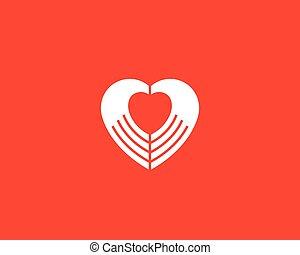 monde médical, vecteur, masage, logotype., logo, négatif, signe, coeur, icône, symbole., charité, spa, salon, design., mains, espace, beauté