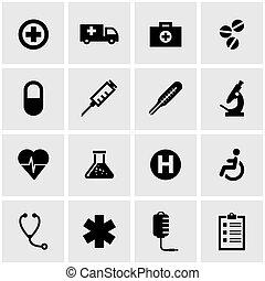 monde médical, vecteur, noir, ensemble, icône