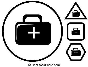monde médical, vecteur, noir, illustration, icônes