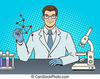 monde médical, vecteur, scientifique, sauter art, chimiste