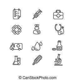 monde médical, vecteur, set., icône, contour