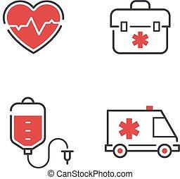 monde médical, vecteur, set., icônes