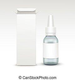 monde médical, verre, pulvérisation, vecteur, bouteille, ...