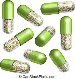 monde médical, vert, capsule, à, granules