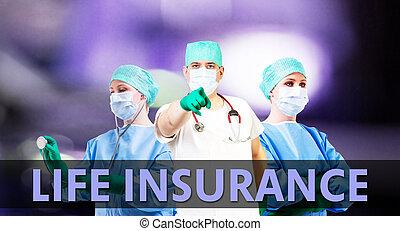 monde médical, vie, fond, assurance
