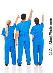 monde médical, vue, arrière, pointage, médecins