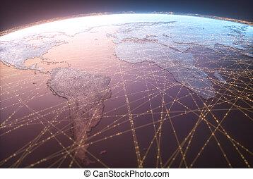 monde numérique, technologie, toile, large, connectivité