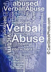 mondeling, concept, achtergrond, misbruiken