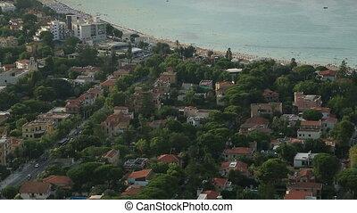 Mondello beach areal view