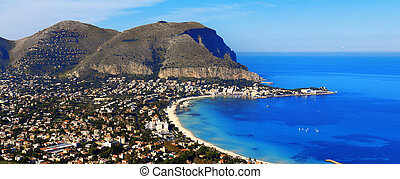 Mondello - Panoramic view of the mondello's gulf. Palerm, ...