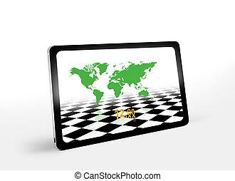 mondes, carte, pc tablette