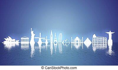 mondes, reflet, célèbre, icônes, repères, eau, la plupart