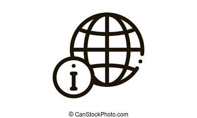 mondial, animation, icône, information