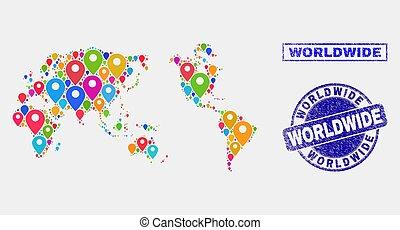mondial, carte, détresse, timbre, cachets, epingles, mosaïque