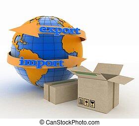 mondial, concept, achat, marchandises