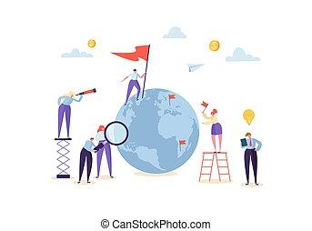 mondial, concept, business, gens fonctionnement, illustration, process., business., ensemble, créatif, global, globe., vecteur, collaboration, communiquer, caractères, travail, coopération