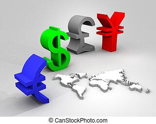 mondial, devises, illustration, commercer
