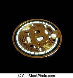 mondial, doré, réseau, concept., bitcoin, argent, monnaie, technologie numérique, futuriste