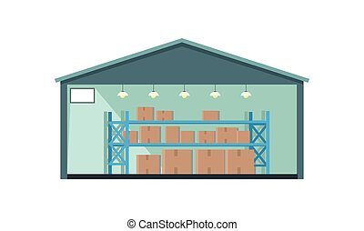 mondial, entrepôt, deliver., bâtiment., entrepôt