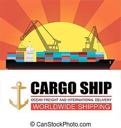 mondial, expédition, logistique, cargaison